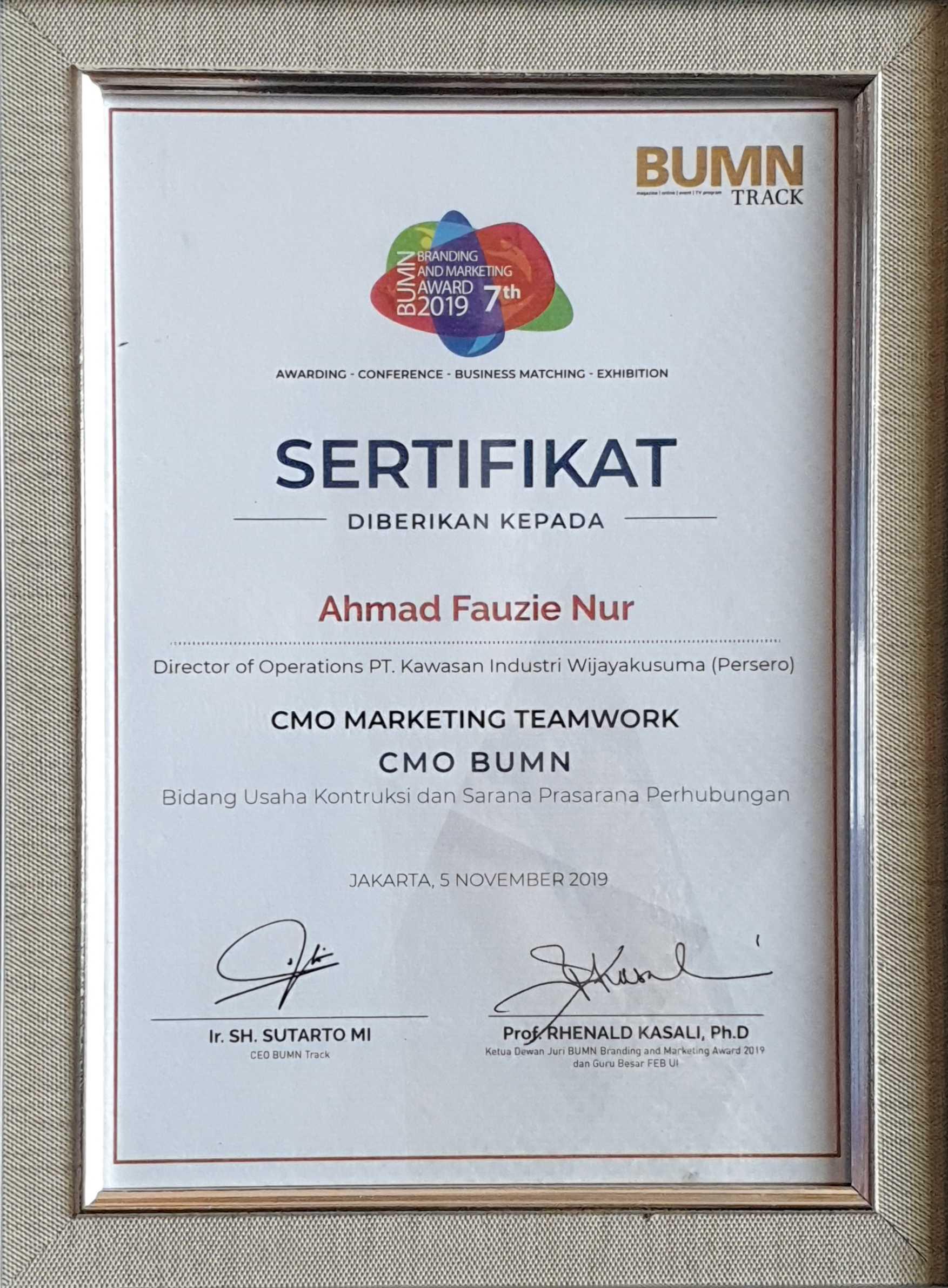KIW BUMN Branding & Marketing Award 2019