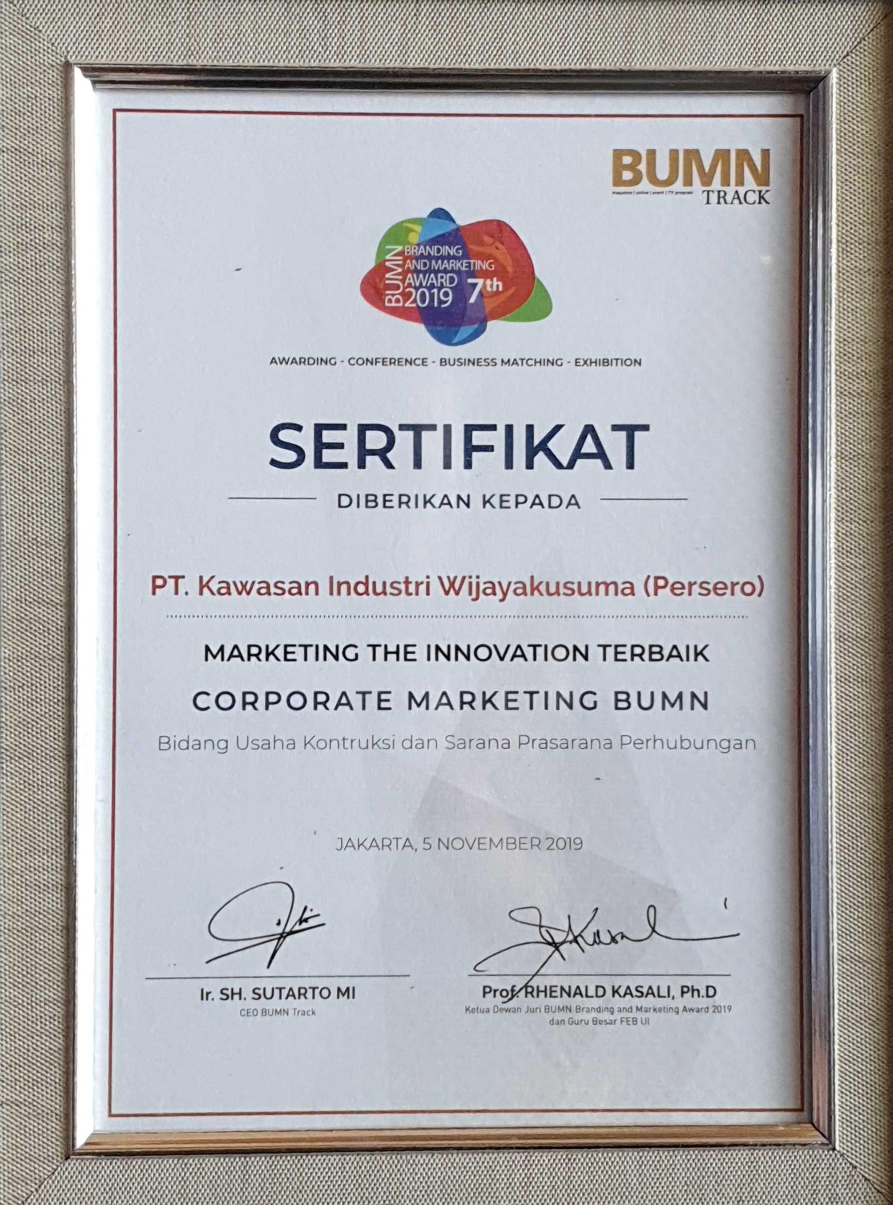 PT KIW BUMN Branding & Marketing Award 2019